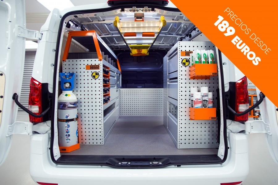 Estanterías para furgonetas taller móvil y sistemas modulares de primera calidad para su vehículo, al mejor precio del mercado. También a medida.