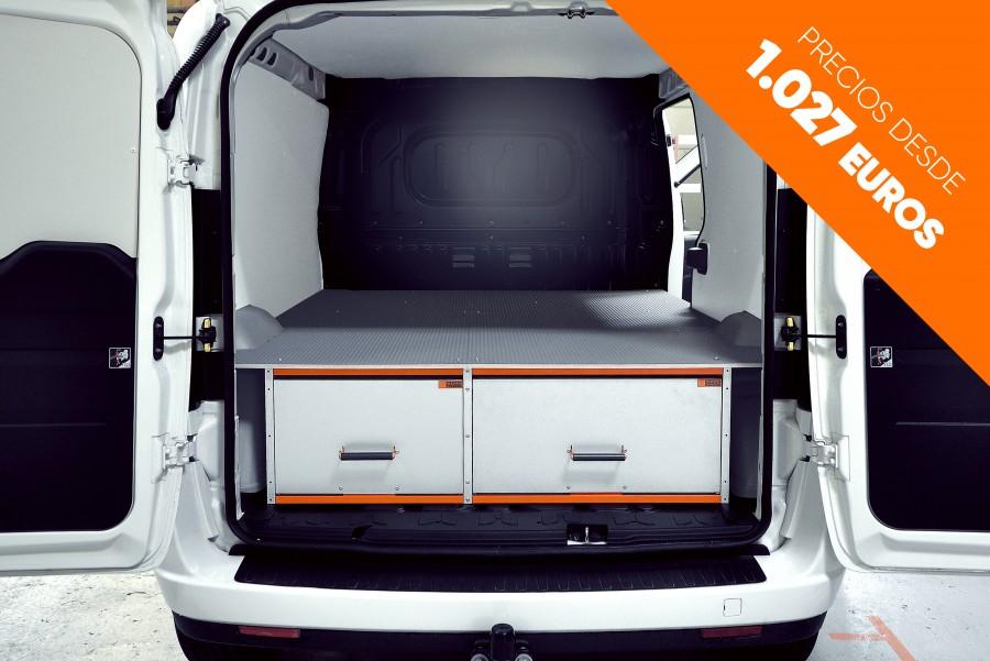 Doble suelo para furgoneta, suelo elevado, suelo sobreelevado con cajonera doble fondo para taller móvil.
